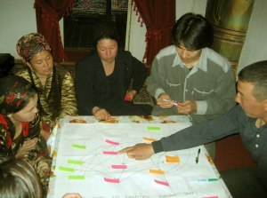 Doing the Net-Map with small scale dairy producers, processors and traders, in Akhunbabayev village, Yukari Chirchik district, Tashkent region, Uzbekistan